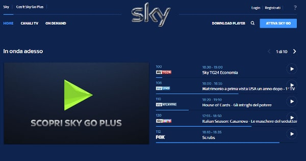 skygo calcio streaming