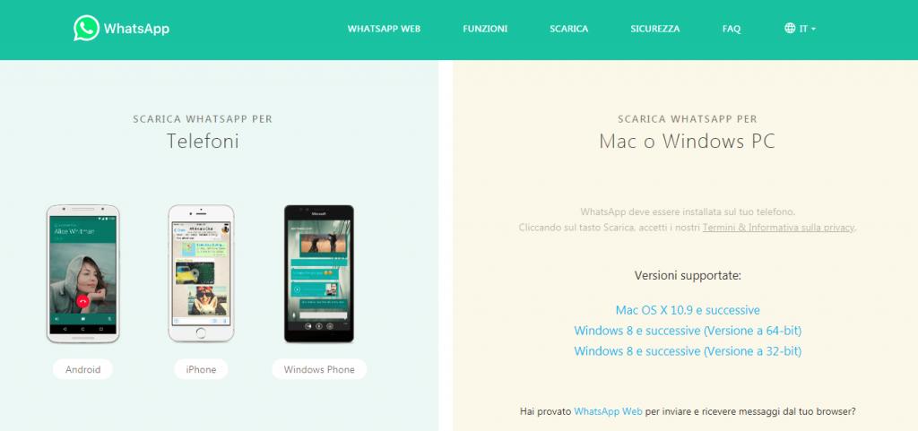 inviare messaggi whatsapp dal PC: whatsapp desktop