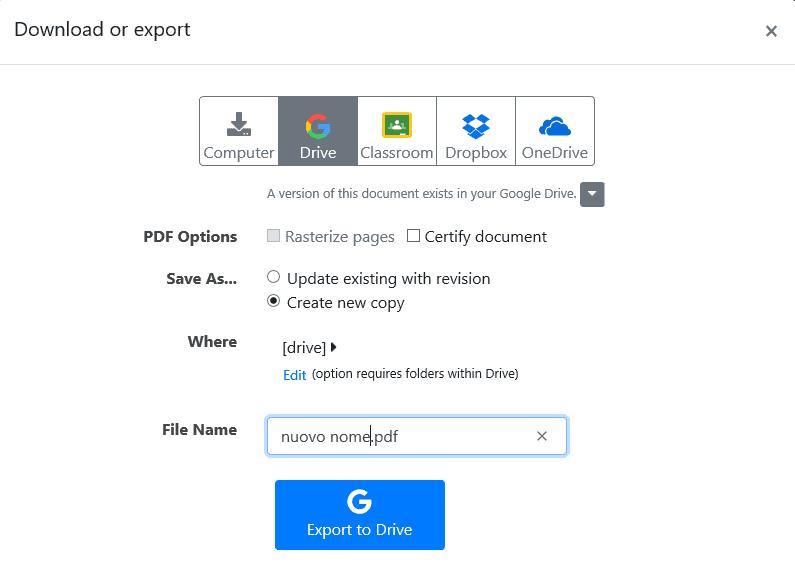 DocHub: download or export su GDrive