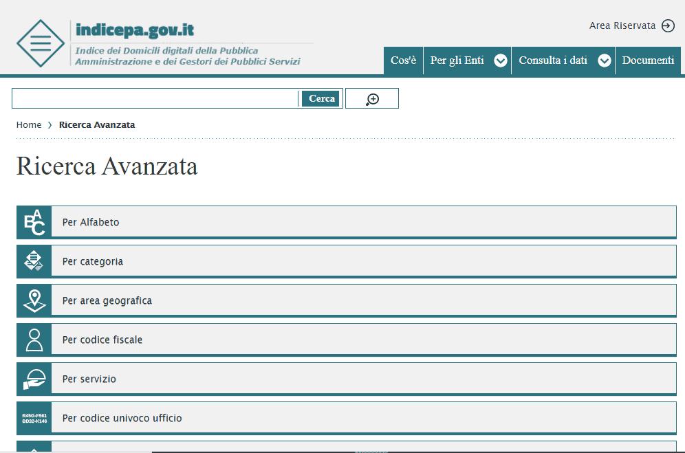 IPA - ricerca PEC